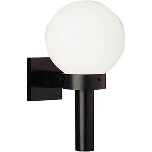 Progress Lighting Globe 10 in. 100W 1-Light Outdoor Wall Sconce with White Shatter Resistant Acrylic Glass in Black PP562660