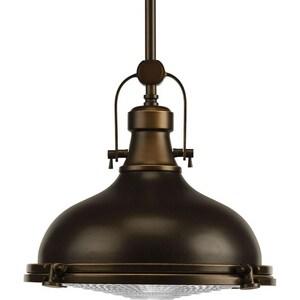 Progress Lighting Fresnel Lens 12-1/8 in. 17W 1-Light LED Pendant in Oil Rubbed Bronze PP518810830K9