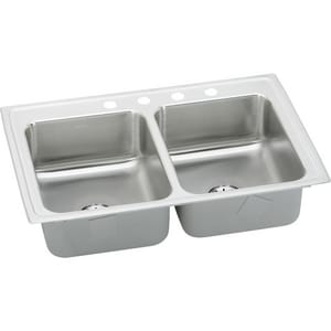 Elkay Gourmet 33 x 21-1/4 in. 18 ga 1-Hole 2-Bowl Self-Rimming or Drop-in 304 Stainless Steel Kitchen Sink with Center Drain in Lustertone ELR3321PD1