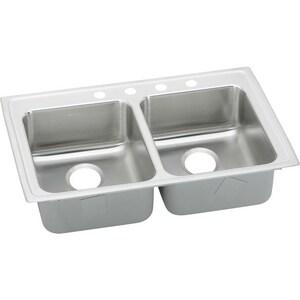 Elkay Lustertone® 3-Hole 2-Bowl Topmount or Drop-In Equal Sink in Lustrous Highlighted Satin ELRADQ2922653