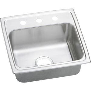Elkay Gourmet Pacemaker® 3-Hole 1-Bowl Topmount or Drop-In Kitchen Sink in Brilliant Satin EPSRQ19183