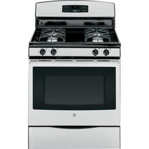 General Electric Appliances 5 CF 30 in. 4 Sealed-Burner Self Cleaning Free Standing Gas Range in Stainless Steel GJGB630REFSS