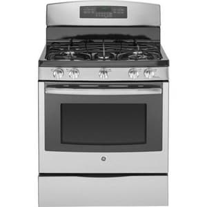 General Electric Appliances Profile™ 30 in. 5.6 cf 5-Burner Natural Gas Freestanding Convection Range in Stainless Steel and Grey GPGB920SEFSS