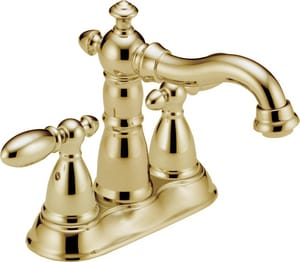 Delta Faucet Victorian® Two Handle Centerset Bathroom Sink Faucet in Brilliance Polished Brass D2555PBMPUDST