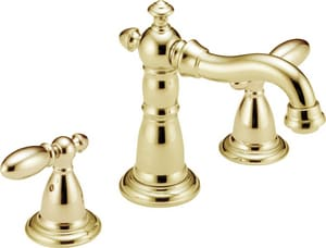 Delta Faucet Victorian® Two Handle Widespread Bathroom Sink Faucet in Polished Brass D3555PBMPUDST