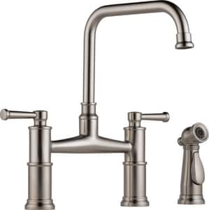 Brizo Artesso™ Double Handle Bridge Kitchen Faucet in Brilliance® Stainless D62525LFSS