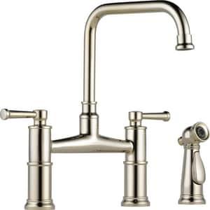 Brizo Artesso™ Two Handle Bridge Kitchen Faucet in Polished Nickel D62525LFPN