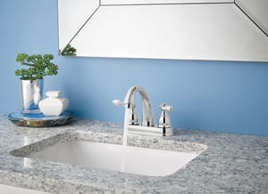 Delta Faucet Windemere® Two Handle Centerset Bathroom Sink Faucet in Polished Chrome DB2596LF