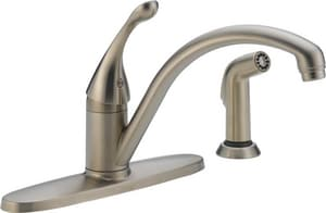 Delta Faucet Collins™ 1.8 gpm 3 or 4 Hole Deck Mount Kitchen Faucet with Single Lever Handle and Sidespray in Brilliance® Stainless D440SSDST