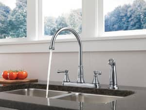 Delta Faucet Cassidy™ Two Handle Kitchen Faucet in Arctic Stainless D2497LFAR