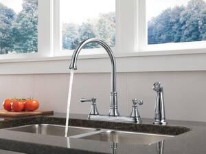 Delta Faucet Cassidy™ Two Handle Kitchen Faucet in Venetian Bronze D2497LFRB