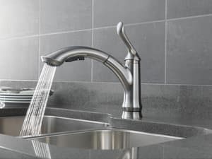 Delta Faucet Linden™ Single Handle Pull Out Kitchen Faucet in Arctic Stainless D4353DST