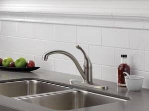 Delta Faucet Collins™ 1.5 gpm Single Lever Handle Deckmount Kitchen Sink Faucet 180 Degree Swivel Spout 3/8 in. Compression Connection in Polished Chrome D140WEDST