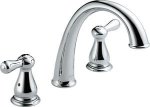 Delta Faucet Leland® Roman Tub Faucet 3-Hole Double Lever Handle Deck or Ledge Mount in Polished Chrome (Trim Only) DT2775