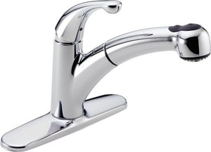 Delta Faucet Palo® 1.8 gpm Single Lever Handle Deckmount Kitchen Sink Faucet 120 Degree Swivel Pull-Out Spout 3/8 in. Compression Connection in Polished Chrome D467DST