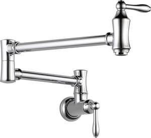 Delta Faucet Traditional® 4 gpm Double Lever Handle Wall Mount Pot Filler 90 Degree Double Jointed IPS Connection D1177LF