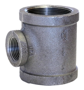 1 x 3/4 x 3/4 in. Threaded x NPS 150# Galvanized Malleable Iron Reducing Tee GTGFF