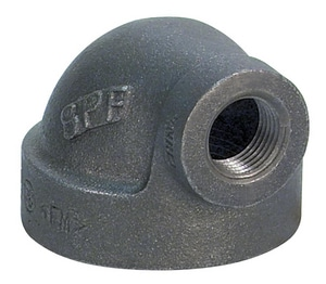 1-1/2 x 1/2 in. Threaded 125# Black Cast Iron 90 Degree Elbow IBCI9