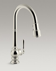 KOHLER Artifacts® Single Handle Pull Down Kitchen Faucet with Three-Function Spray, Magnetic Docking and Sweep Spray Technology in Vibrant® Polished Nickel K99259-SN