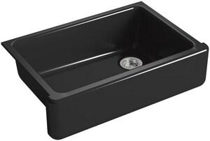 KOHLER Whitehaven® 32-11/16 x 21-9/16 in. No Hole Cast Iron Single Bowl Undermount Kitchen Sink in Black Black™ K5827-7