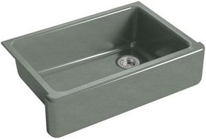 KOHLER Whitehaven® 32-11/16 x 21-9/16 in. No Hole Cast Iron Single Bowl Undermount Kitchen Sink in Basalt K5827-FT