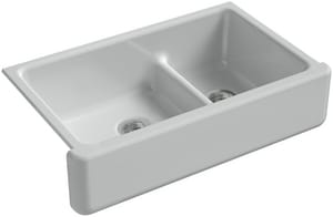 KOHLER Whitehaven® 35-11/16 x 21-9/16 in. No Hole Cast Iron Double Bowl Apron Front Kitchen Sink in Ice™ Grey K6427-95