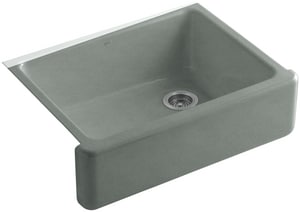 KOHLER Whitehaven® 29-11/16 x 21-9/16 in. No Hole Cast Iron Single Bowl Apron Front Kitchen Sink in Basalt K6487-FT
