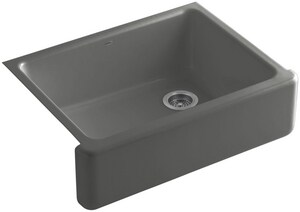 KOHLER Whitehaven® 29-11/16 x 21-9/16 in. No Hole Cast Iron Single Bowl Apron Front Kitchen Sink in Thunder™ Grey K6487-58
