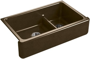 KOHLER Whitehaven® 35-11/16 x 21-9/16 in. No Hole Cast Iron Double Bowl Apron Front Kitchen Sink in Black 'n Tan K6427-KA