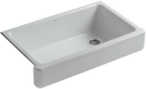 KOHLER Whitehaven® 35-1/2 x 21-9/16 in. No Hole Cast Iron Single Bowl Apron Front Kitchen Sink in Ice™ Grey K6488-95