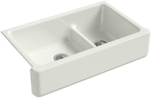KOHLER Whitehaven® 35-11/16 x 21-9/16 in. No Hole Cast Iron Double Bowl Apron Front Kitchen Sink in Dune K6427-NY