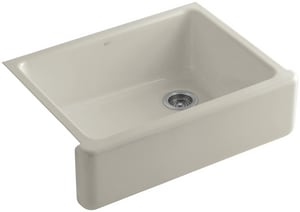 KOHLER Whitehaven® 29-11/16 x 21-9/16 in. No Hole Cast Iron Single Bowl Apron Front Kitchen Sink in Sandbar K6487-G9