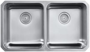 KOHLER Undertone® Preserve® 31-1/2 x 18 in. No Hole Double Bowl Undermount Kitchen Sink in Stainless Steel K3171-HCF-NA