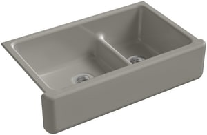 KOHLER Whitehaven® 35-11/16 x 21-9/16 in. No Hole Cast Iron Double Bowl Apron Front Kitchen Sink in Cashmere K6427-K4