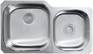 KOHLER Undertone® Preserve® 35-1/8 x 20-1/8 in. No Hole Double Bowl Undermount Kitchen Sink in Stainless Steel K3356-HCF-NA