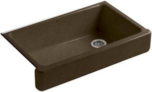 KOHLER Whitehaven® 35-1/2 x 21-9/16 in. No Hole Cast Iron Single Bowl Apron Front Kitchen Sink in Black 'n Tan K6488-KA