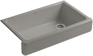 KOHLER Whitehaven® 35-1/2 x 21-9/16 in. No Hole Cast Iron Single Bowl Apron Front Kitchen Sink in Cashmere K6488-K4