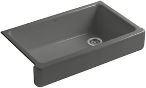 KOHLER Whitehaven® 35-1/2 x 21-9/16 in. No Hole Cast Iron Single Bowl Apron Front Kitchen Sink in Thunder™ Grey K6488-58