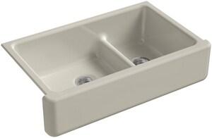 KOHLER Whitehaven® 35-11/16 x 21-9/16 in. No Hole Cast Iron Double Bowl Apron Front Kitchen Sink in Sandbar K6427-G9