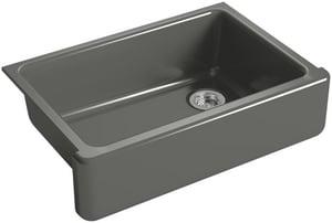 KOHLER Whitehaven® 32-11/16 x 21-9/16 in. No Hole Cast Iron Single Bowl Undermount Kitchen Sink in Thunder™ Grey K5827-58