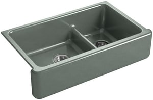 KOHLER Whitehaven® 35-11/16 x 21-9/16 in. No Hole Cast Iron Double Bowl Apron Front Kitchen Sink in Basalt K6427-FT