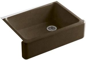 KOHLER Whitehaven® 29-11/16 x 21-9/16 in. No Hole Cast Iron Single Bowl Apron Front Kitchen Sink in Black 'n Tan K6487-KA