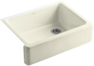 KOHLER Whitehaven® 29-11/16 x 21-9/16 in. No Hole Cast Iron Single Bowl Apron Front Kitchen Sink in Cane Sugar™ K6487-FD