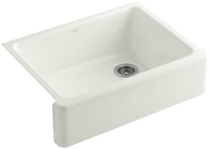 KOHLER Whitehaven® 29-11/16 x 21-9/16 in. No Hole Cast Iron Single Bowl Apron Front Kitchen Sink in Dune K6487-NY