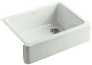 Kohler Whitehaven® 29-11/16 x 21-9/16 in. No Hole Cast Iron Single Bowl Apron Front Kitchen Sink in Sea Salt™ K6487-FF