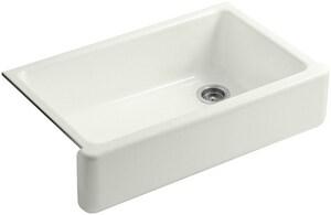KOHLER Whitehaven® 35-11/16 x 21-9/16 in. No Hole Cast Iron Single Bowl Apron Front Kitchen Sink in Dune K6489-NY