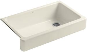 KOHLER Whitehaven® 35-1/2 x 21-9/16 in. No Hole Cast Iron Single Bowl Apron Front Kitchen Sink in Almond K6488-47