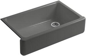 KOHLER Whitehaven® 35-11/16 x 21-9/16 in. No Hole Cast Iron Single Bowl Apron Front Kitchen Sink in Thunder™ Grey K6489-58