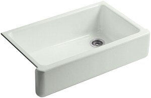 KOHLER Whitehaven® 35-11/16 x 21-9/16 in. No Hole Cast Iron Single Bowl Apron Front Kitchen Sink in Sea Salt™ K6489-FF