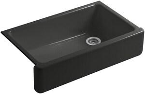 Kohler Whitehaven® 36 x 22 in. Single Bowl Drop-In Kitchen Sink in Caviar K6489-FP